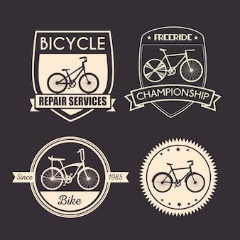 Definir emblema de bicicleta para serviço mecânico e de loja