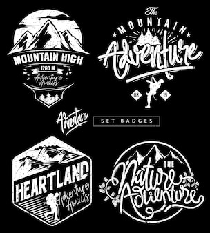Definir emblemas de tema de montanha de aventura