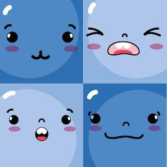 Definir emoções emoji enfrenta ícones de personagens