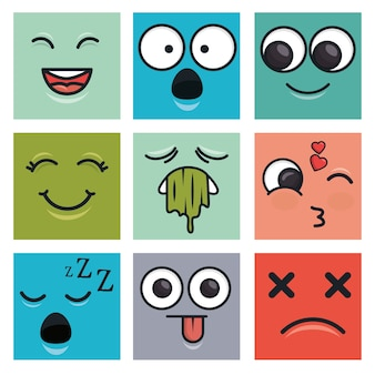 Definir emoticons faces vector ilustration eps 10