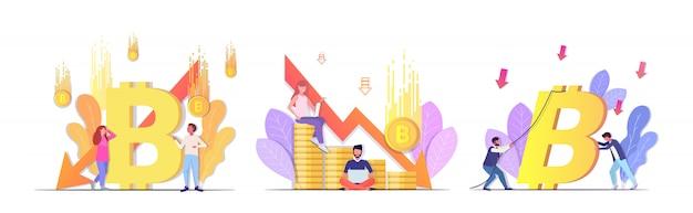 Definir empresários frustrados com queda no preço colapso do bitcoin da moeda criptográfica caindo seta crise financeira falência