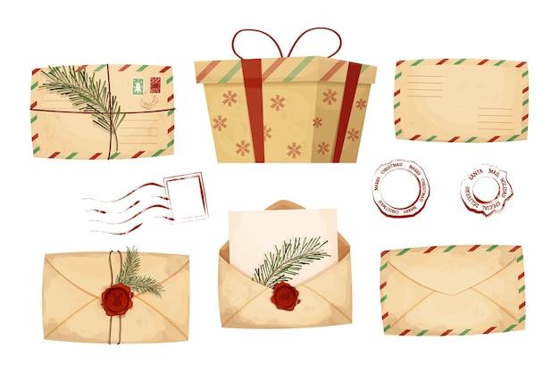 Definir envelopes de cartas de natal com papel vazio e lacre de cera vermelha com o papai noel