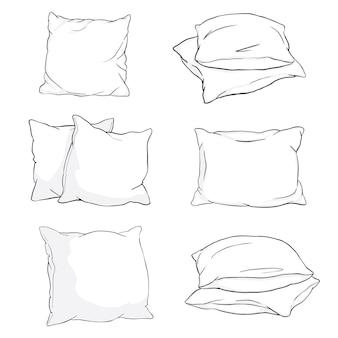 Definir estilo de esboço de almofadas um, dois, pilha de quatro, mão segurando uma pilha de três almofadas