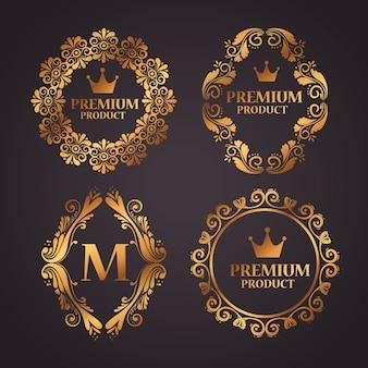 Definir etiquetas com molduras decorativas luxuosas de ouro