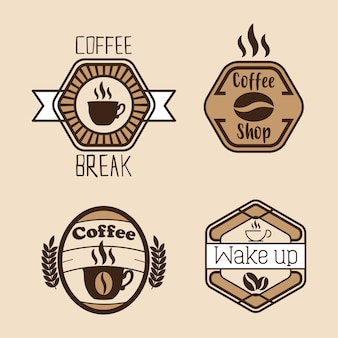 Definir etiquetas de café e crachás