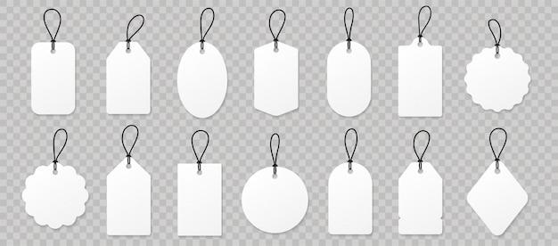 Definir etiquetas de preço de papel branco em branco ou etiquetas de presente.