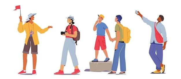 Definir excursão em grupo de turistas. jovens com mochilas e câmeras fotográficas viajando. personagens masculinos e femininos com guia viajar no exterior isolado no fundo branco. ilustração em vetor de desenho animado