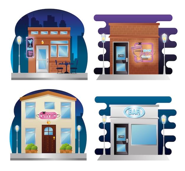 Definir fachadas de edifícios com etiquetas de néon