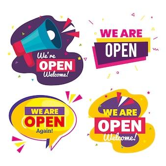 Definir faixas de letras estamos abertos com design de decoração