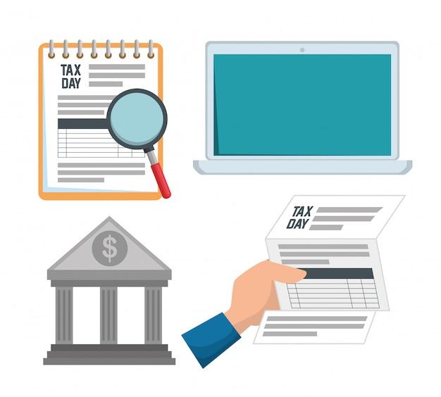 Definir fatura de imposto sobre serviços com relatório de laptop