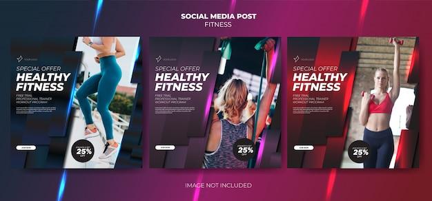 Definir feed de modelo de mídia social de treino de fitness
