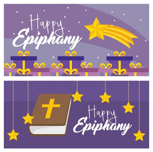 Definir feliz epifania com presentes e bibble com estrelas
