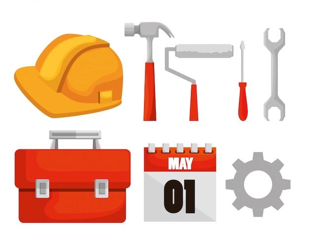 Definir ferramentas de construção e calendário para o dia do trabalho