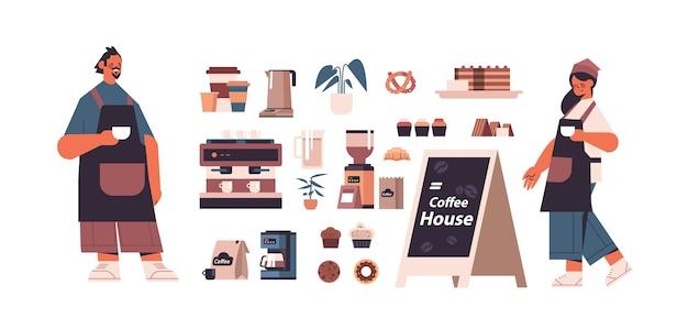 Definir ferramentas e acessórios de cafeteria com homem mulher barista em ilustração vetorial horizontal uniforme