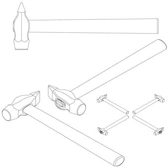 Definir ferramentas isométricas em um fundo branco