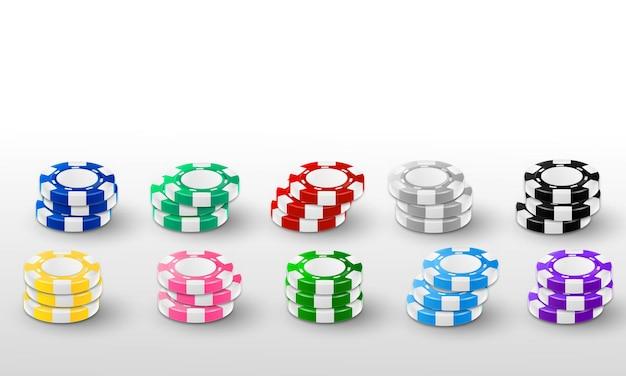Definir fichas voando tokens realistas para jogos de azar, dinheiro para roleta ou pôquer,