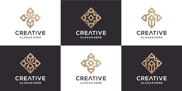 Definir flor e construção com logotipo de luxo