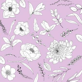 Definir flores linha arte premium