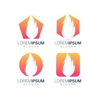 Definir fogo design de logotipo gradiente colorido