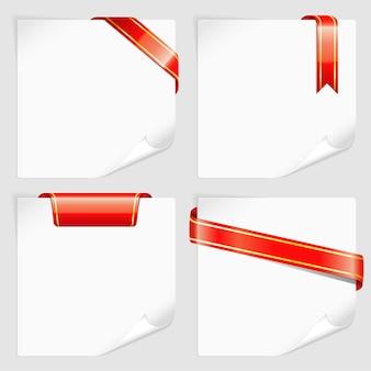 Definir folhas brancas de papel com fitas