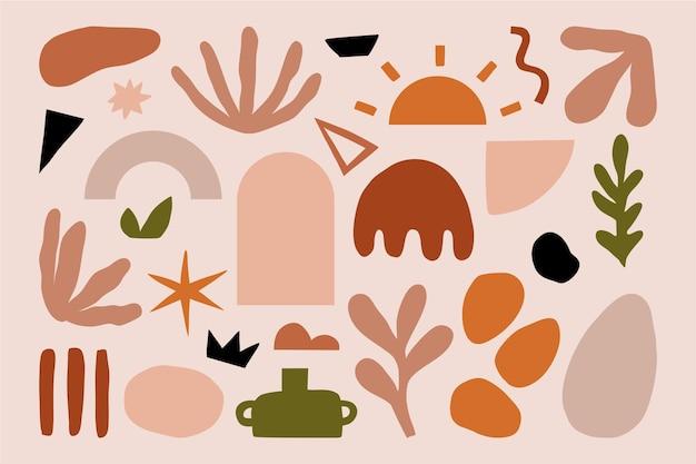 Definir formas de elementos de doodle texturizado desenhado à mão moderna na moda abstrata.