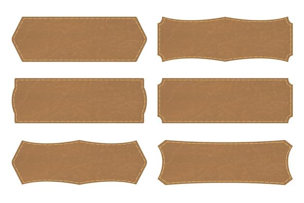Definir formas de rótulos de sinal de couro ou etiqueta de couro