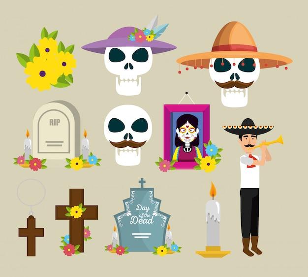 Definir foto e flores para celebrar o dia dos mortos