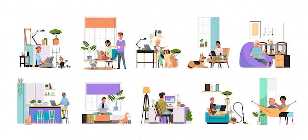 Definir freelancers de homens de raça mista usando laptop trabalhando em casa durante a quarentena de coronavírus freelance