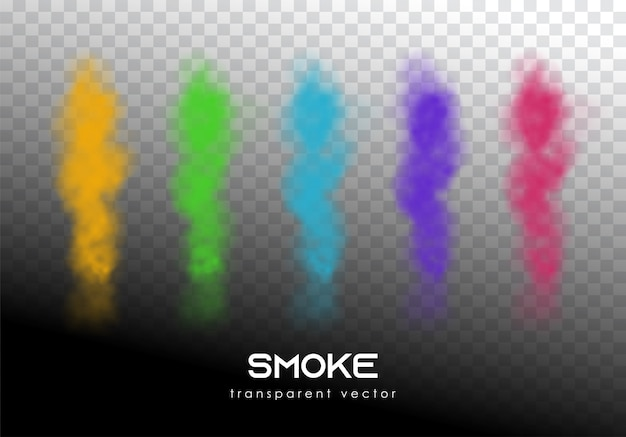 Definir fumaça transparente de vetor de cor