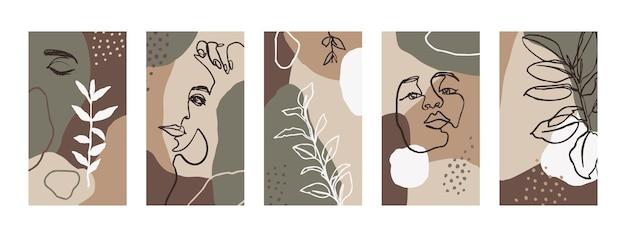Definir fundos com retratos de mulheres e elementos da flora. papéis de parede abstratos para celular em modelos de estilo de tendência minimalista para histórias de mídia social. ilustração vetorial em cor pastel rosa, verde, bege