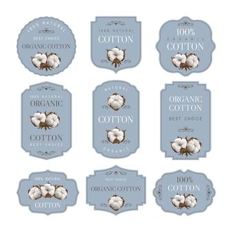 Definir fundos de algodão com bolas de algodão em um fundo cinza