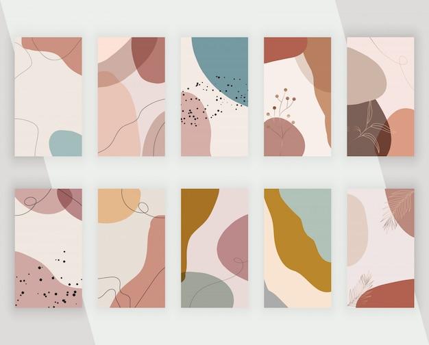 Definir fundos de mídia social com formas de pintura artística à mão livre à mão abstrata, linhas e folhas. design neutro moderno