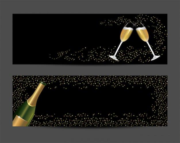 Definir garrafa e champanhe de vidro para férias