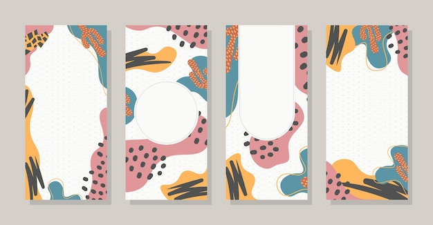 Definir histórias coloridas memphis modernas formas abstratas pop art com fundo de bolinhas vetoriais