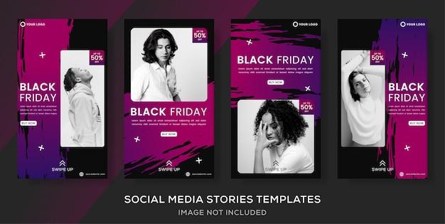 Definir histórias postar modelo de banner para venda de moda black friday.