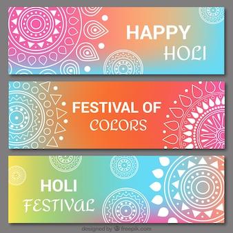 Definir holi banners coloridos com mandalas