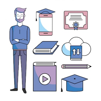 Definir homem de estudo com certificado on-line de educação