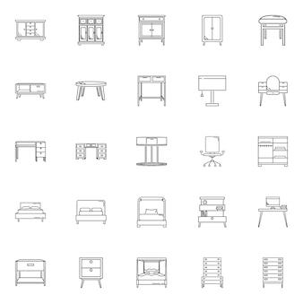 Definir ícone de contorno de vetor de móveis