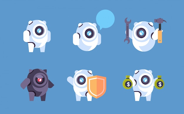 Definir ícone de personagem de robô de bot de diversidade Vetor Premium