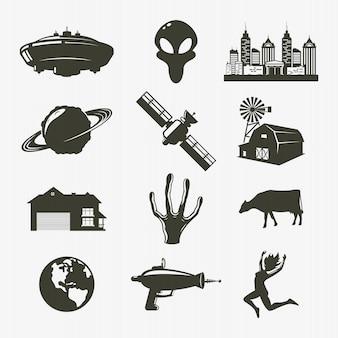 Definir ícone ovni. ilustração