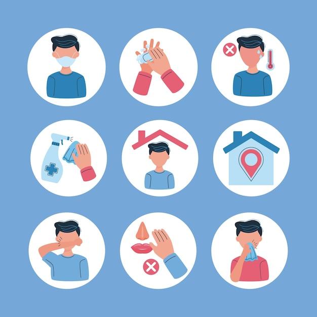 Definir ícones covid19 prevenção