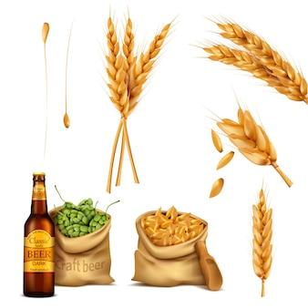 Definir ícones realistas, conceito de fabricação de cerveja