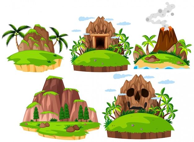 Definir ilha de montanha no fundo branco