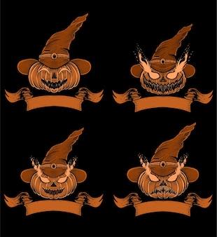 Definir ilustração de abóbora de bruxa halloowen