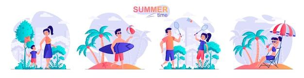 Definir ilustração de conceito de design plano de horário de verão de personagens de pessoas