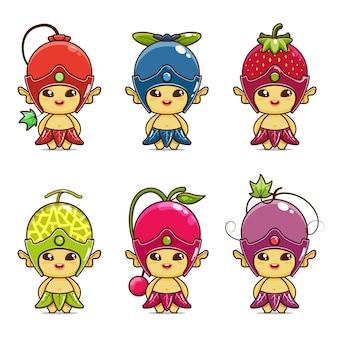 Definir ilustração de mascote de frutas fofa groselha mirtilo morango melão cereja uva