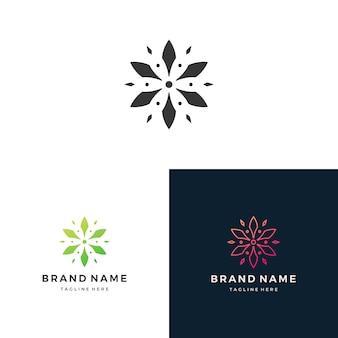Definir ilustração em vetor abstrato logotipo floral design