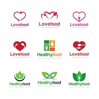 Definir ilustração em vetor logotipo comida
