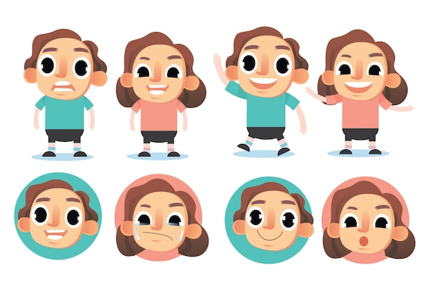 Definir ilustração em vetor personagens fofinhos