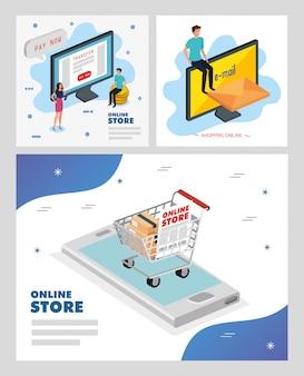 Definir ilustração loja online vector design ilustração